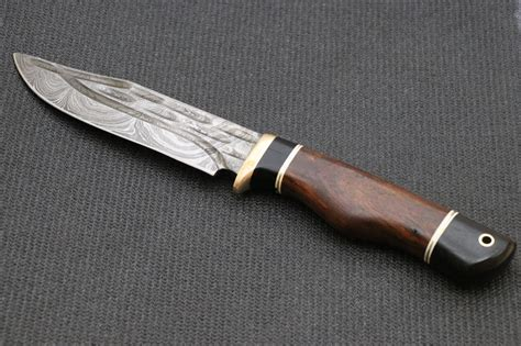 Handmade Forged Knives - forged damascus knife wood