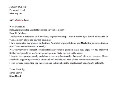 simple application letter sample vacant position