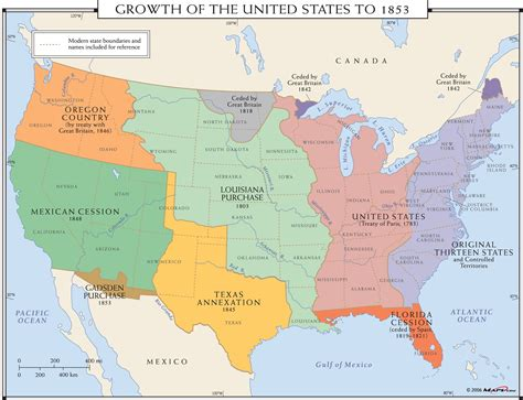 maps of the usa with states growth of the united states to 1853 map maps