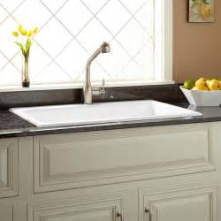Kitchen Sink Hardware Signature Hardware 36 Quot Frattina Cast Iron Drop In Kitchen Sink