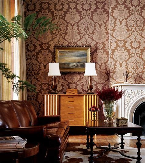 Brown Wallpaper For Living Room 30 and chic living rooms with damask wallpaper