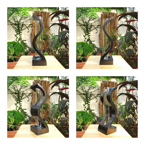 home and garden decor handmade 3 quot x 10 quot modern mango wood vase home decor