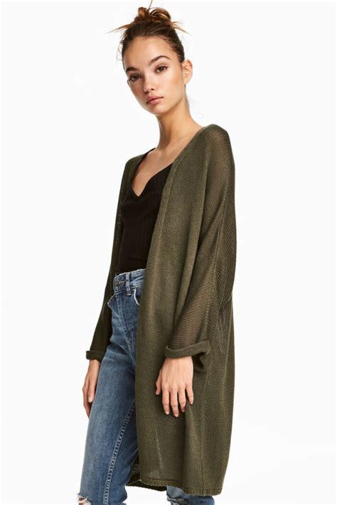 Hm Top Knit Cleo Fit L knit cardigan khaki green h m us