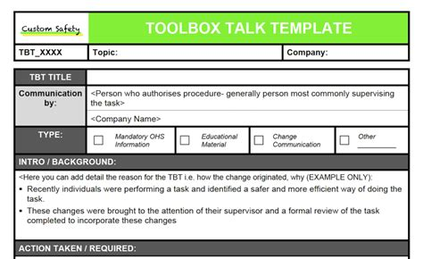 toolbox meeting minutes template toolbox talk template