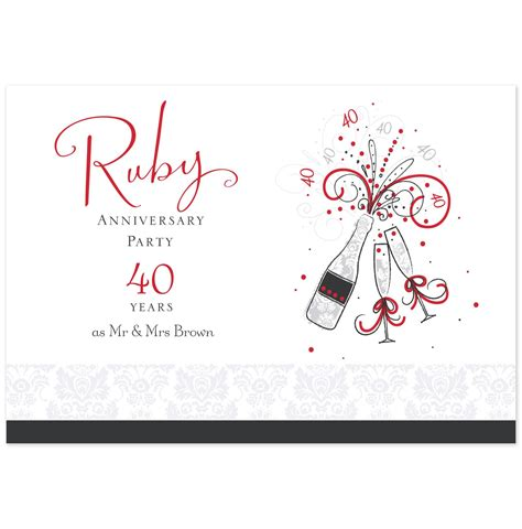 40th wedding anniversary invitation templates shop ruby anniversary anniversary invitations and