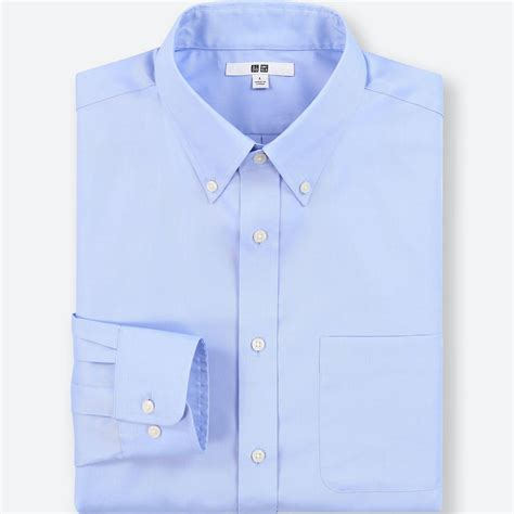 Uniqlo Formal Shirt lyst uniqlo easy care oxford regular fit sleeve shirt exclusive in blue for