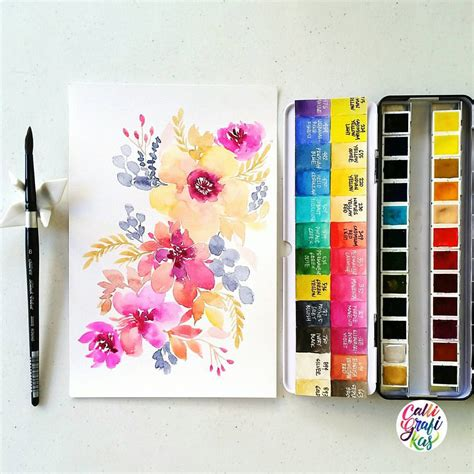 schmincke watercolor calligrafikas grafikaflora paper canson 200gsm paint