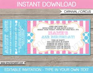 ticket invitations template free carnival ticket invitations template carnival or