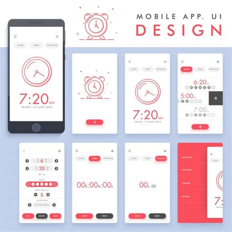 design your app online alarm app design vector premium download
