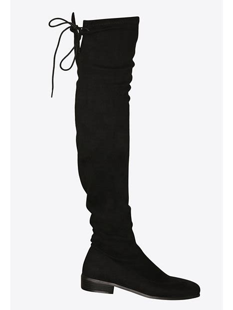 flat thigh high boot nly shoes black boots shoes