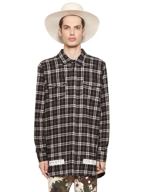 Plaid Cotton Shirt lyst white c o virgil abloh plaid cotton flannel