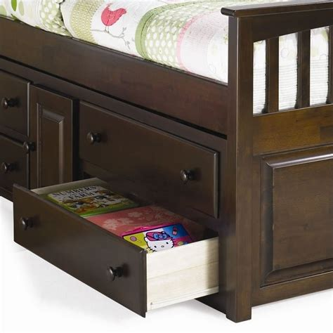 captain bed with underbed drawers atlantic furniture captain s bookcase bed with underbed 4 drawer chest in antique walnut ap85x6044