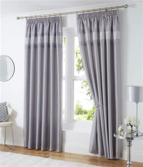 luxury silver curtains lined curtains eyelet rings or pencil pleat tape top
