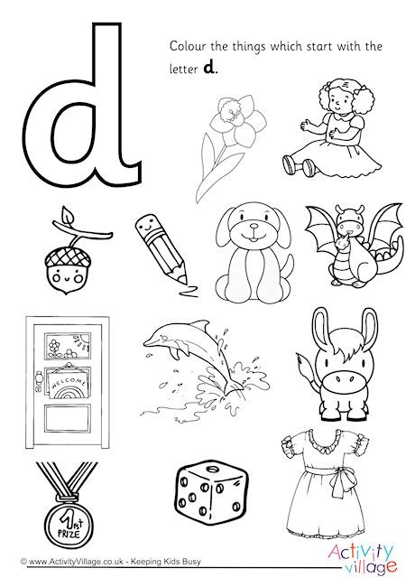 colors that start with o start with the letter d colouring page
