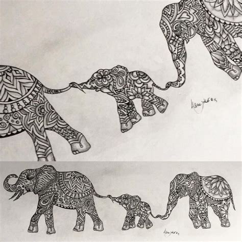 zentangle tattoo original indian elephant zentangle design by