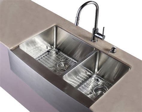33 In Farmhouse 60 40 Double Sink And Faucet With Soap 60 40 Kitchen Sink