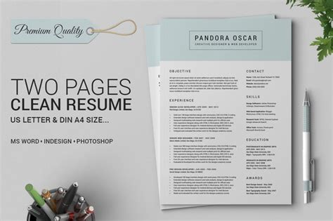 2 page resume format free 2 pages clean resume cv pandora resume templates on creative market