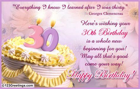 Happy Birthday 30th Wishes A Warm 30th B Day Wish Free Milestones Ecards Greeting