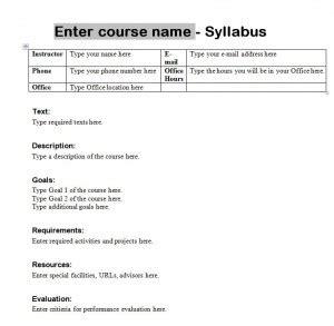 Syllabus Template Course Syllabus Template College Syllabus Template