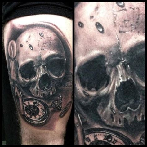 black and grey skull tattoo designs black and grey skull and pocket watch by ganso galvao