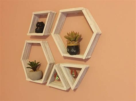 easy craft stick projects diy geometric wall shelves shelves easy and patterns