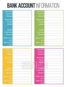 organizing finances template bank account information printable editable personal