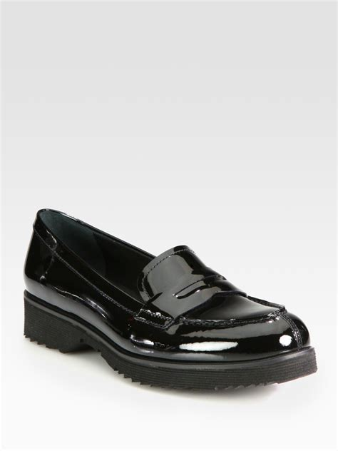 black patent loafer prada patent leather loafers in black lyst