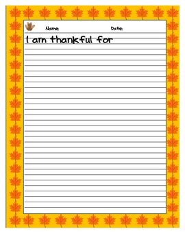 writing template for thanksgiving cards kindergarten i am thankful writing template by practical practice and