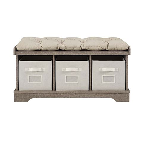storage bench with cushions and storage bins walker edison 3 cubby cushion storage bench in driftwood
