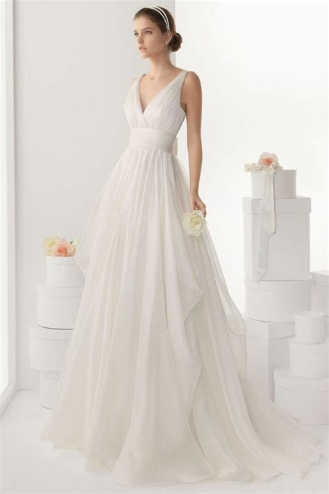v neck backless bowknot chiffon wedding dress cheap