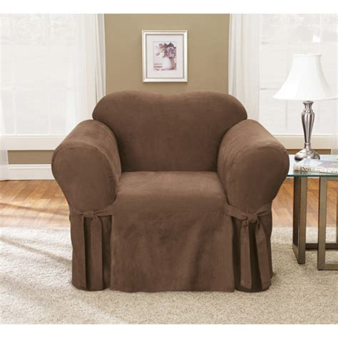 couch slipcovers walmart sure fit 1pc soft suede chair slipcover walmart com