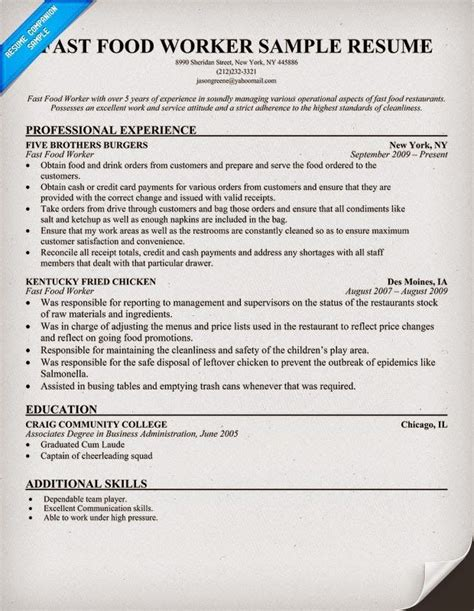 fast food worker resume sle fast food worker resume