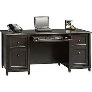 black desk sauder 174 edgewater collection executive desk estate black