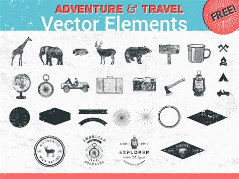 Elements Of My Vacation by 26 Adventure And Travel Vector Elements Graphicsfuel