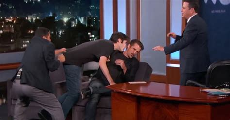 jane fondashaghaircut 2015 jimmy kimmel show colin farrell gets sniffed by a fan on jimmy kimmel live