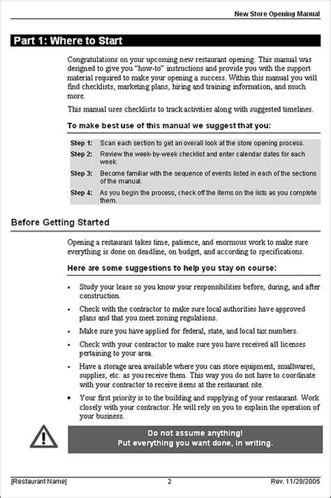 restaurant startup business plan template restaurant startup opening manual
