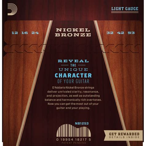 guitar strings light d addario nickel bronze acoustic guitar strings light 12 53