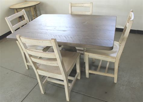 wide oak dining table in driftwood finish