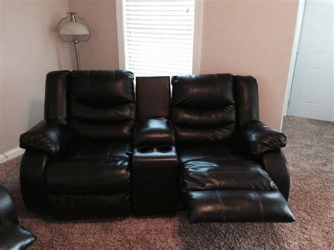 Black Leather Loveseat Recliner by Reclining Black Leather And Loveseat Ebay