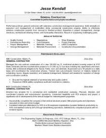 example general contractor resume free sample