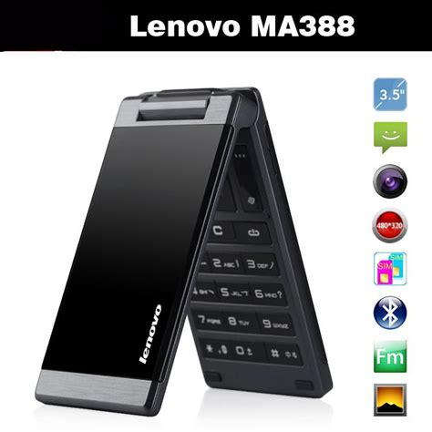 Lenovo Ma388 original lenovo ma388 3 5inch business elders flip mobile phone gsm dual band fm mp3