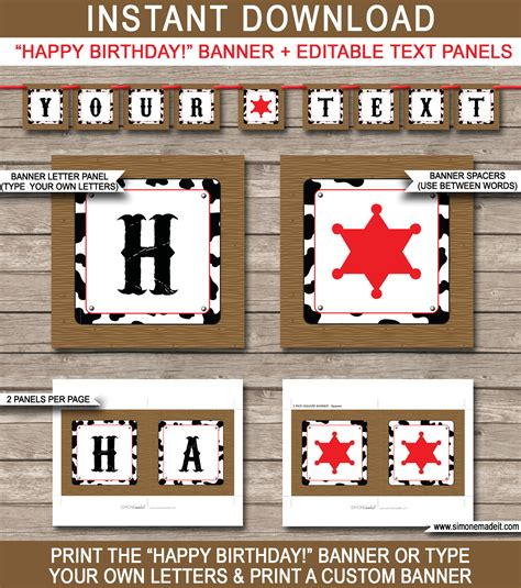 printable text banner cowboy party banner template birthday banner editable