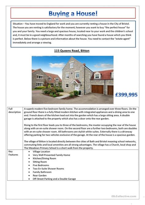 esl buying a house buying a house worksheet free esl printable worksheets made by teachers