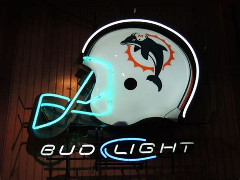 bud light nfl neon sign neon beer sign miami dolphins nfl bud light