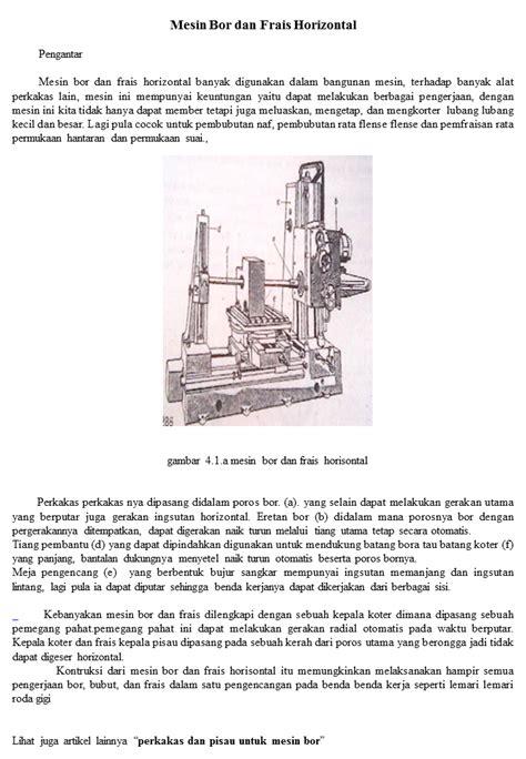 Mesin Bor Frais Baru artikel tentang mesin bor dan frais horisontal 2 ikels