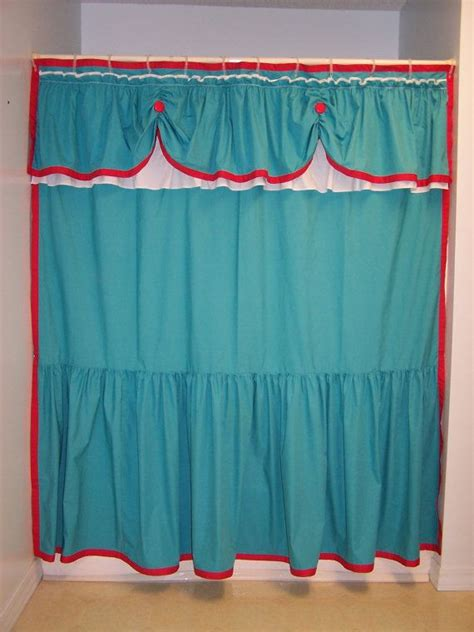 red and teal curtains shower curtain swaged swag custom made ruffles ruffled