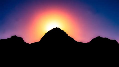 wallpaper sunset mountains silhouette hd  nature
