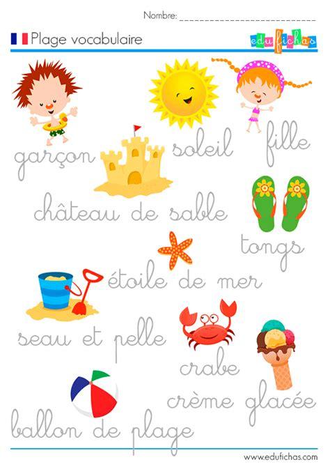 imagenes de palabras en frances plage vocabulaire aprender frances pinterest