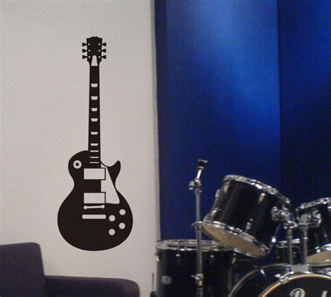 guitar home decor guitar wall decal les paul inspired removable sticker