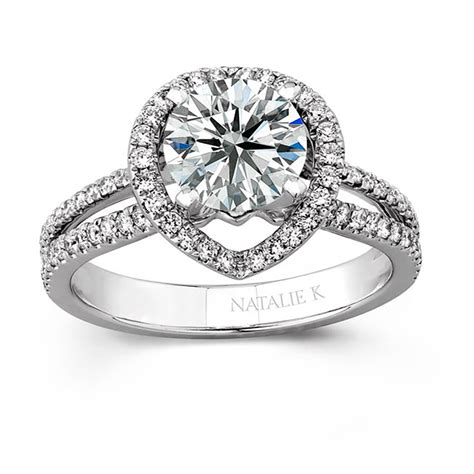 18k white gold micro pave halo engagement ring